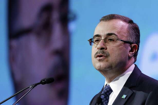 Saudi Aramco CEO Amin Nasser gives his address as a featured speaker during Ceraweek held at the Hilton Americas Hotel Tuesday, Mar. 6, 2018 in Houston, TX. (Michael Wyke / For the Chronicle)