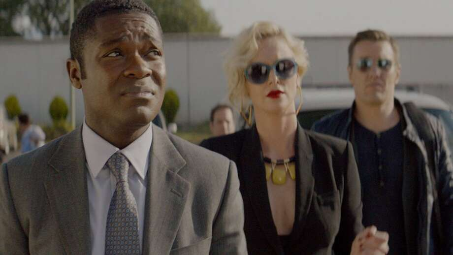 "David Oyelowo, Charlize Theron and  Joel Edgerton in ""Gringo."""