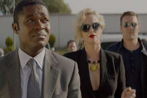 "David Oyelowo, Charlize Theron and  Joel Edgerton in ""Gringo."""