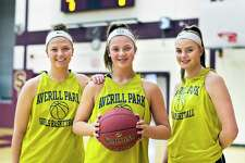 Averill Park girls' basketball stars and sisters, from left, senior Mallory Wood, 8th grader Amelia Wood and sophomore Kelsey Wood Tuesday March 6, 2018 in Colonie, NY. (John Carl D'Annibale/Times Union)