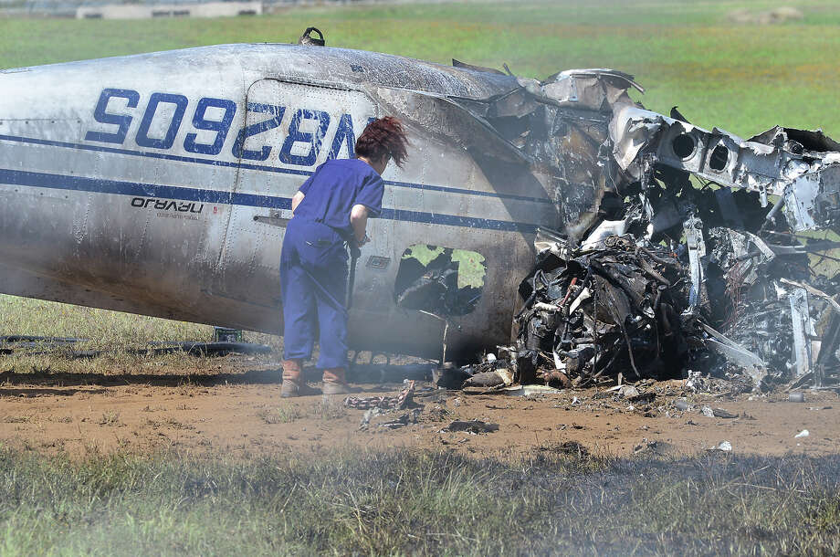Webb County Medical Examiner Corinne Stern is shown at the scene of a plane crash at the Laredo International Airport on Thursday, March 8, 2018. Photo: Cuate Santos/Laredo Morning Times
