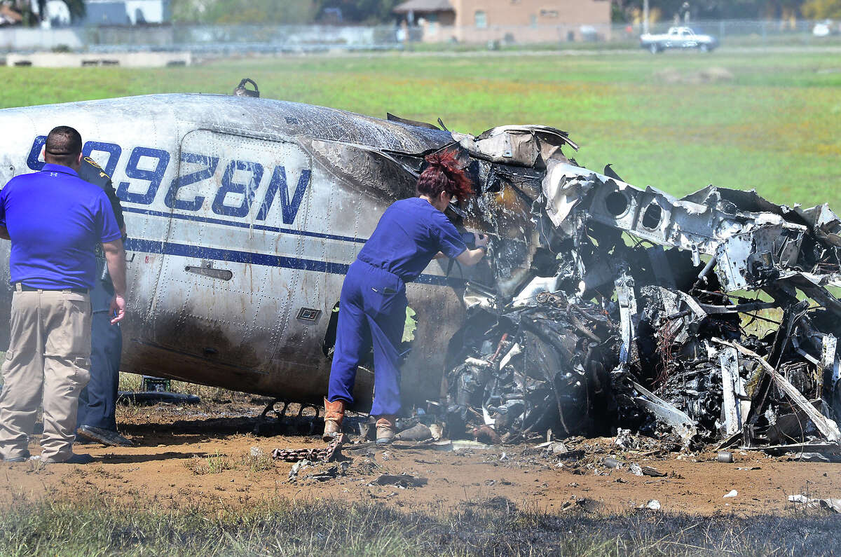 Webb County Medical Examiner Corinne Stern is shown at the scene of a plane crash at the Laredo International Airport on Thursday, March 8, 2018.