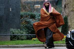 Saudi Arabia's Crown Prince Mohammed bin Salman arrives for talks at 10 Downing Street, in central London on Wednesday. He will also visit the U.S. this month.