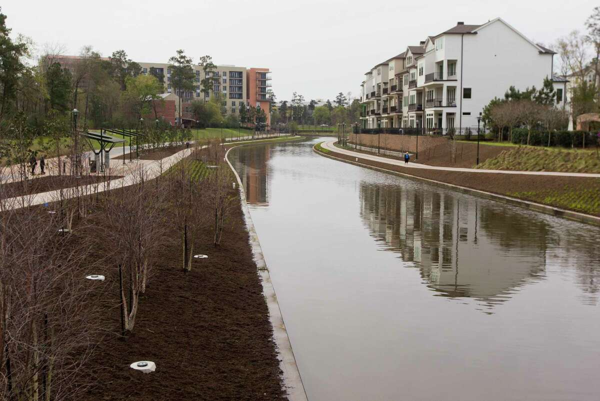 Community members and local leaders celebrated the completion of The Woodlands Waterway, an 18-year project combining commercial and residential centers with a 1.8 mile transit and pedestrian corridor through The Woodlands Town Center, Thursday, March 8, 2018, in The Woodlands.