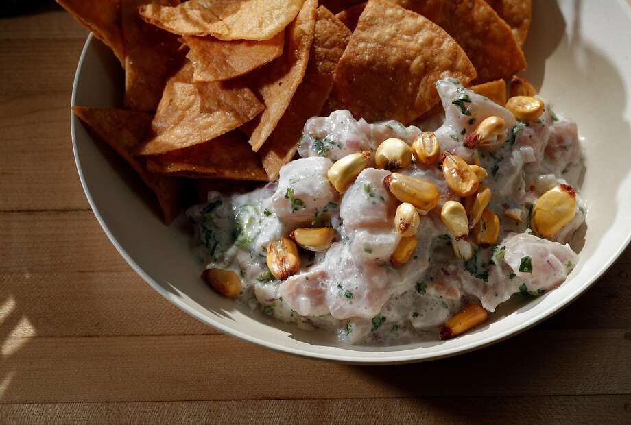 Ceviche with coconut milk, lime, jalapeno, corn chips at MerSea. Photo: Carlos Avila Gonzalez, The Chronicle