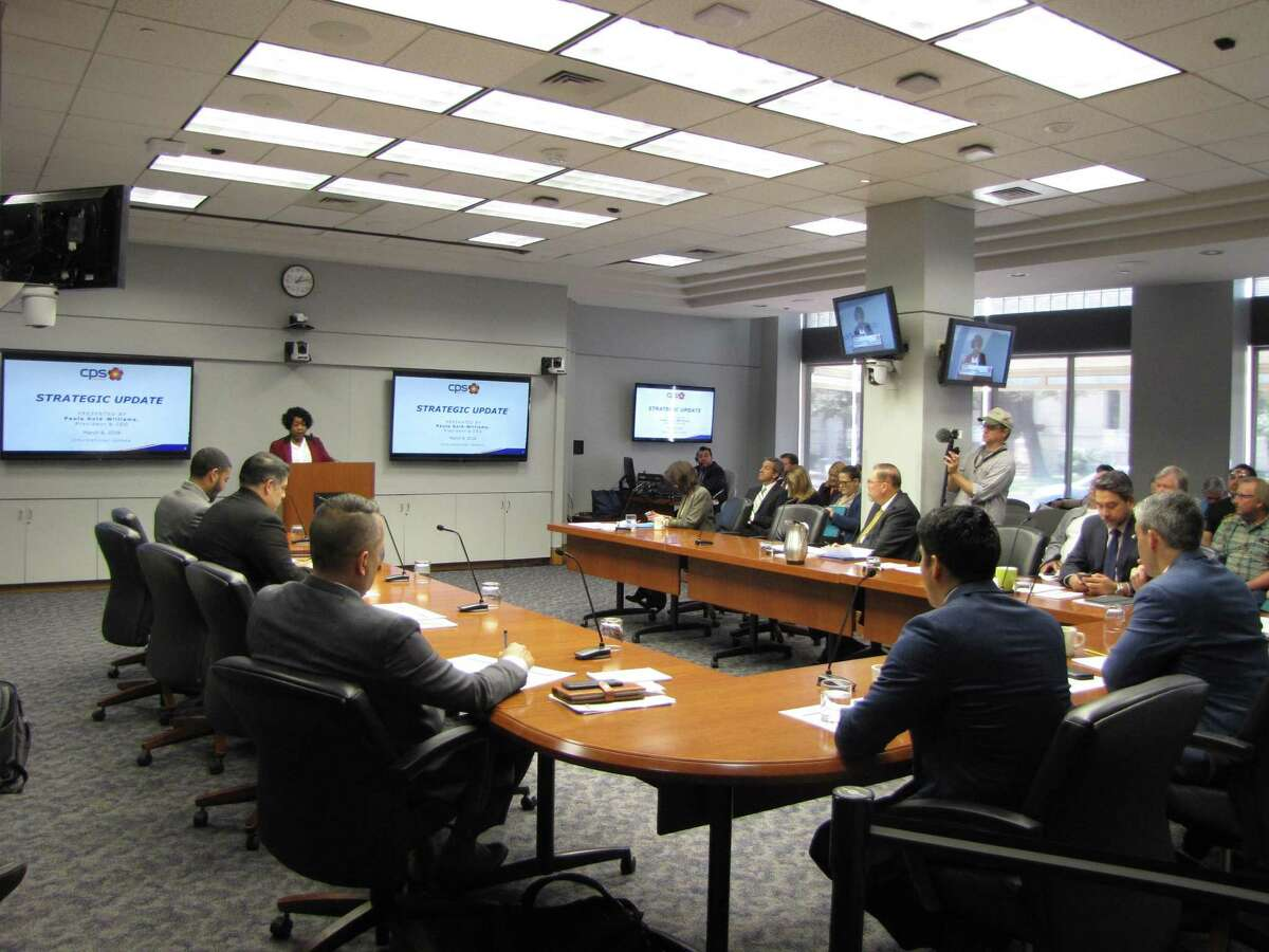 CPS Energy President and CEO Paula Gold-Williams presents about the utility's future power mix on Thursday.