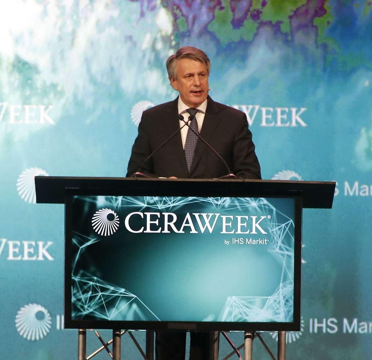Royal Dutch Shell CEO Ben van Beurden speaks at the CERAWeek conference at the Hilton Americas, Wednesday, March 7, 2018, in Houston. ( Karen Warren / Houston Chronicle )