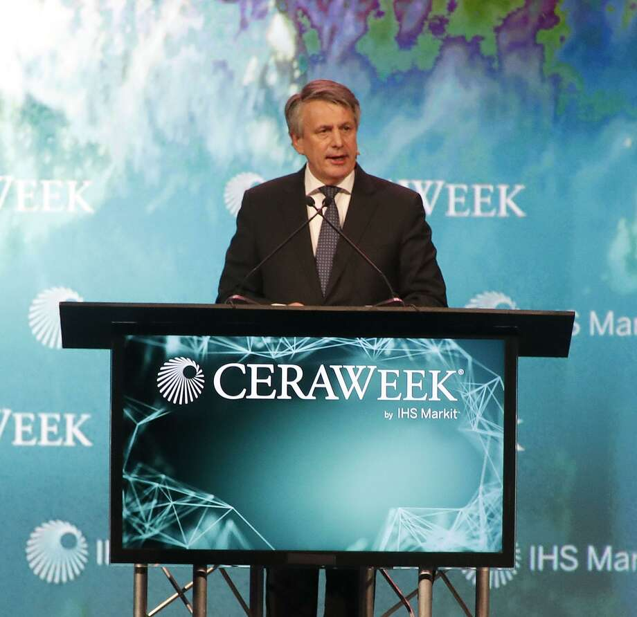 Royal Dutch Shell CEO Ben van Beurden speaks at the CERAWeek conference at the Hilton Americas, Wednesday, March 7, 2018, in Houston.  ( Karen Warren / Houston Chronicle ) Photo: Karen Warren, Staff / Houston Chronicle / © 2018 Houston Chronicle