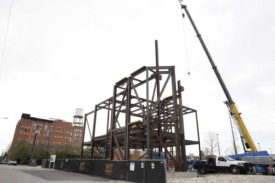Construction is proceeding on Ruby City, a contemporary art center that will house and display the collection of the late Linda Pace. The idea for a Ruby City came to Pace — a collector, artist and philanthropist — in a dream. Photo: Billy Calzada /San Antonio Express-News / San Antonio Express-News