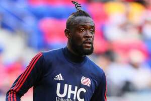 HARRISON, NJ - MAY 27:   New England Revolution forward Kei Kamara (23) warms up prior to the  Major League Soccer game between the New York Red Bulls and the New England Revolution on May 27, 2017 at Red Bull Arena in Harrison, NJ.   (Photo by Rich Graessle/Icon Sportswire via Getty Images)