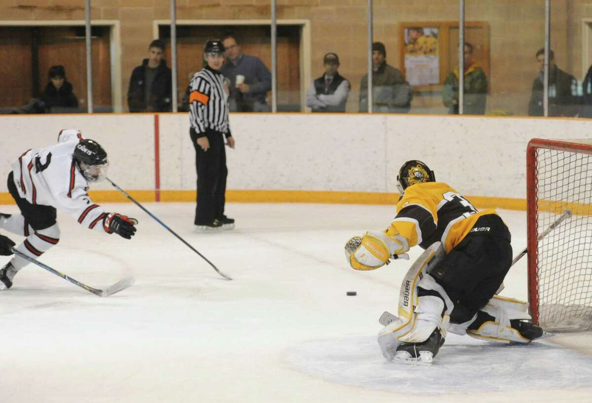 Brunswick junior goalie Dan Dachille made 32 saves in the Bruins' victory over Thayer Academy in the championship game.