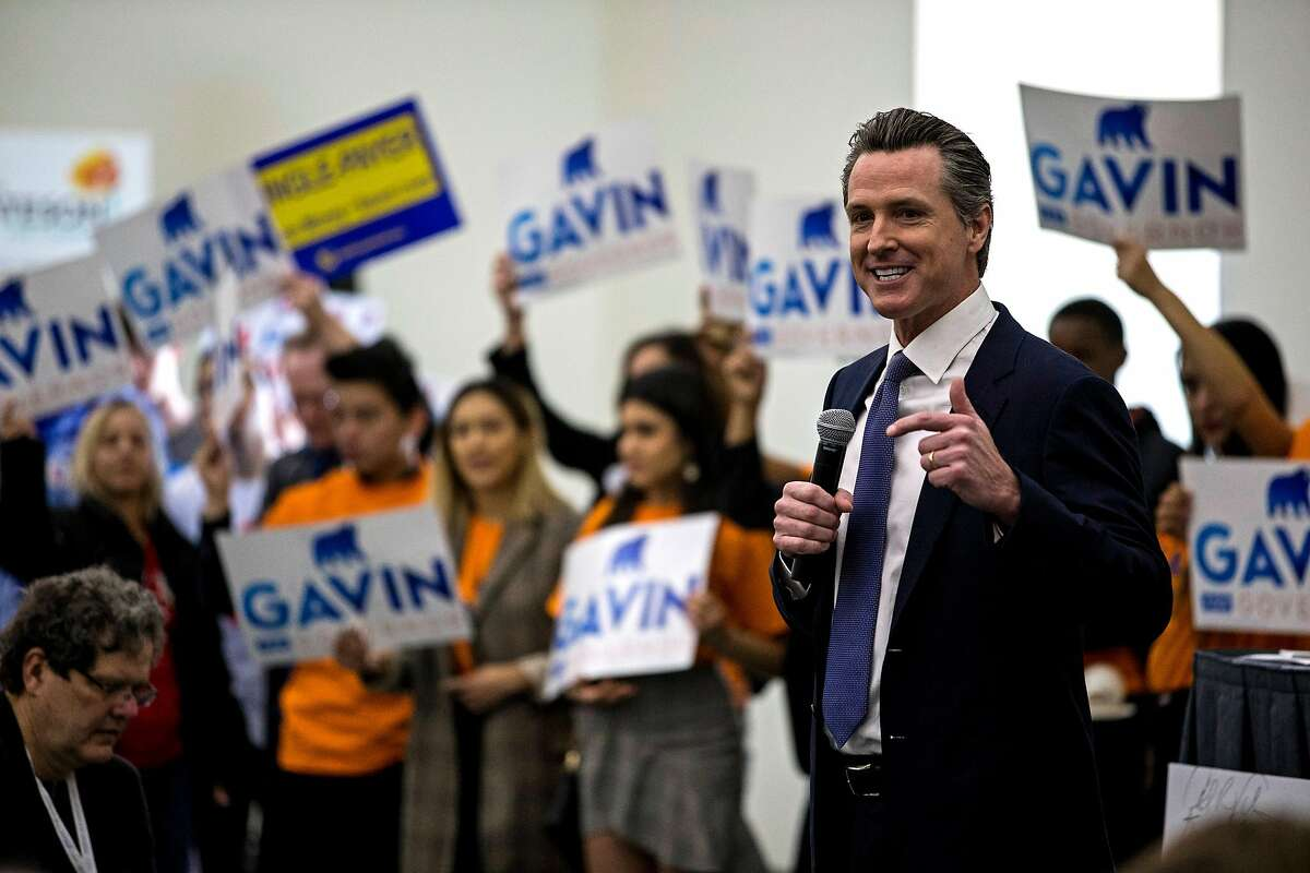 California gubernatorial candidate Gavin Newsom at the California Democrats State Convention at the San Diego Convention Center on Saturday, Feb. 24, 2018, in San Diego. (Kent Nishimura/Los Angeles Times/TNS)
