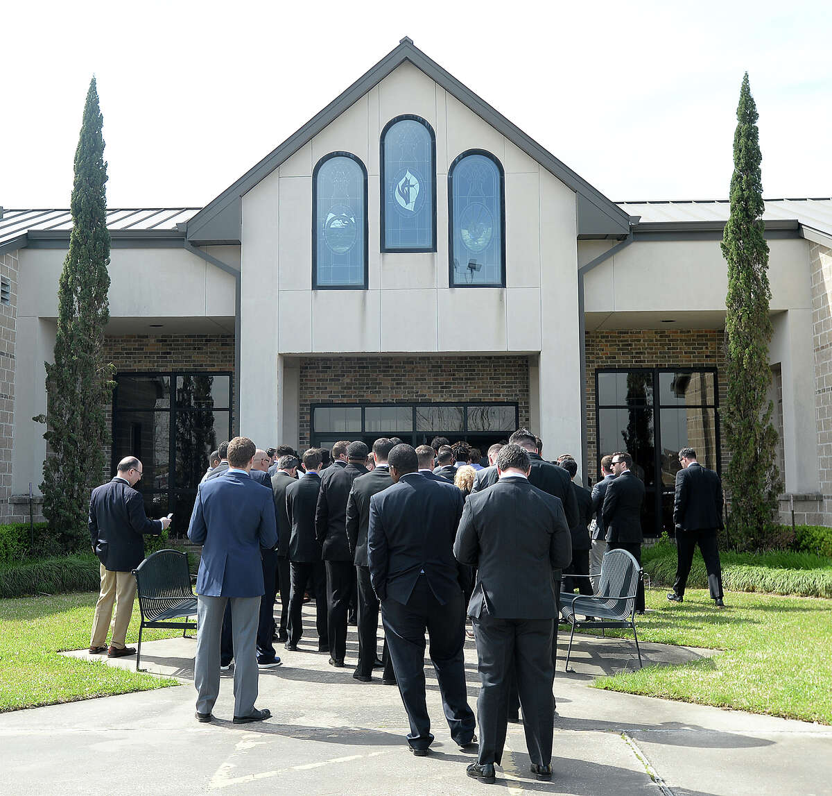 Family, friends and Rice University football teammates gather at Wesley United Methodist Church Thursday for the funeral services honoring Blain Padgett. The Hardin - Jefferson graduate and Rice football player was found dead at his home after missing a practice last week. The cause of death remains unknown. Photo taken Thursday, March 8, 2018 Kim Brent/The Enterprise