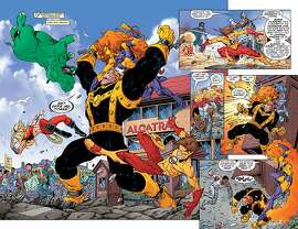 """Teen Titans"" #8 (2004)   Tom Grummett and Kevin Conrad    Here, the Titans engage Mammoth of the Furious Five in a Fisherman's Wharf rumble that must have ruined every tourist's day.  ""The Teen Titans got a new team, a new headquarters, and a new city in 2004,"" Farago said. ""Robin, Superboy, Kid Flash, Wonder Girl, and their teammates built a new Titans Tower in the San Francisco Bay.""  (Image courtesy of the  Cartoon Art Museum )"