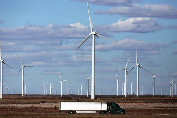 Wind turbines are viewed at a wind farm in Colorado City, Texas. Wind power accounted for 8.3 percent of the electricity generated in Texas during 2013.