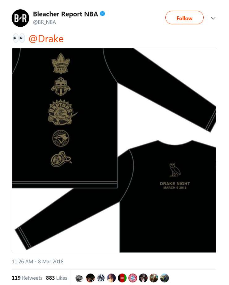 "On Thursday, Drake revealed merchandise for ""Drake Night"" as well as the Raptor's fourth ""Welcome Toronto"" game.See how Drake's ""Houston Appreciation Weekend"" pool party was celebrated at Cle nightclub.@BR_NBA Photo: @BR_NBA"