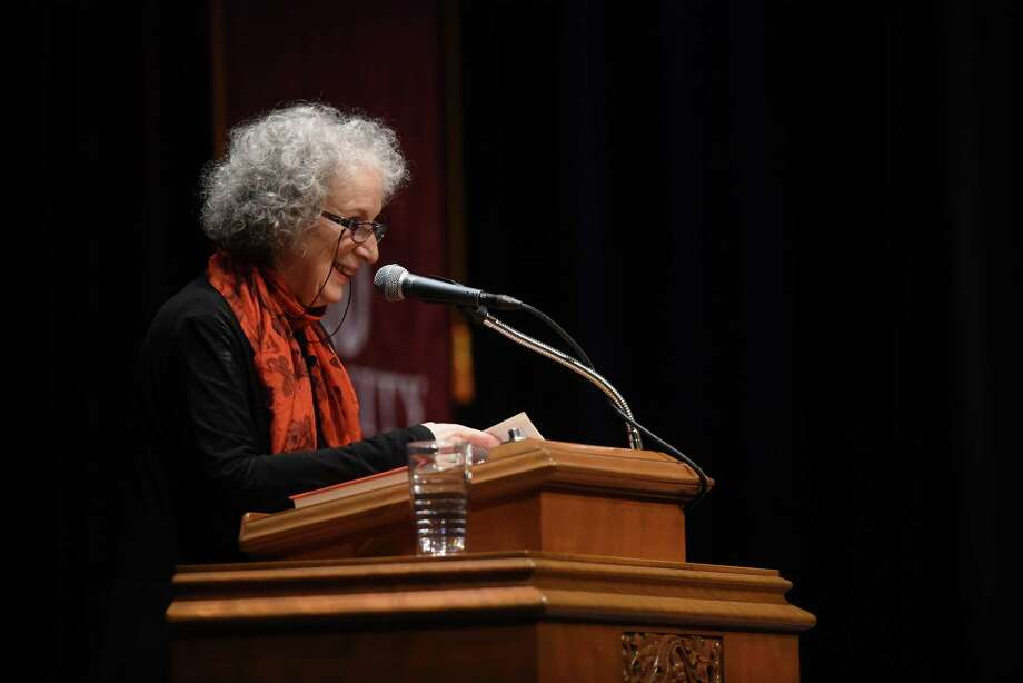 "Author Margaret Atwood, whose works include ""The Handmaid's Tale,"" speaks Thursday evening at Laurie Auditorium on the campus of Trinity University. Photo: Billy Calzada /San Antonio Express-News / San Antonio Express-News"