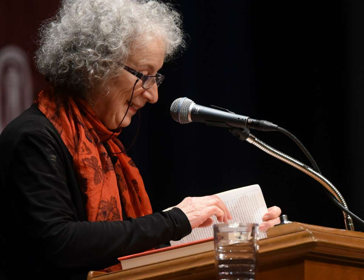 """Author Margaret Atwood, whose works include """"The Handmaid's Tale,"""" speaks Thursday evening at Laurie Auditorium on the campus of Trinity University."""