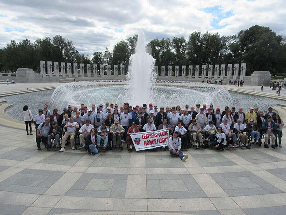 Leatherstocking Honor Flight veterans and their guardians at Washington D.C. (Courtesy Edward Parham)