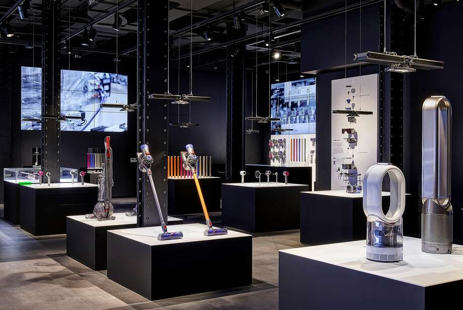 Dyson opened a massive demo store at 285 Geary St. in late November, where customers can re-create their ultimate infomercial fantasies by vacuuming up confetti and sprinkles (or 62 other types of debris) before saddling up to the bar to customize their own Dyson V8. Photo: Dyson