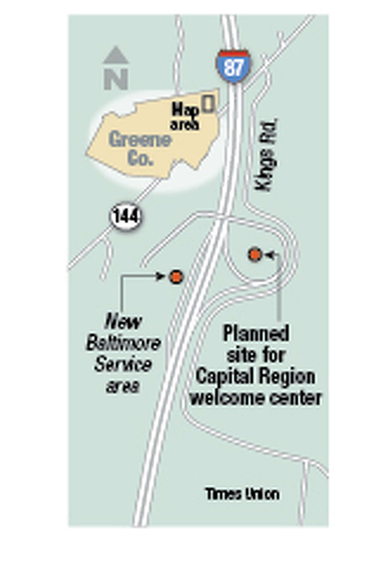Gov. Andrew Cuomo?s plans for a network of centers along highways to promote New York products is now targeting the Capital Region, with plans for a facility along the state Thruway in Greene County. The Thruway Authority is seeking bids next month for construction of a 10,000-square-foot ?Capital Region welcome center? to be built inside the cloverleaf off the northbound exit leading to the existing New Baltimore travel plaza. (Jeff Boyer/Times Union)