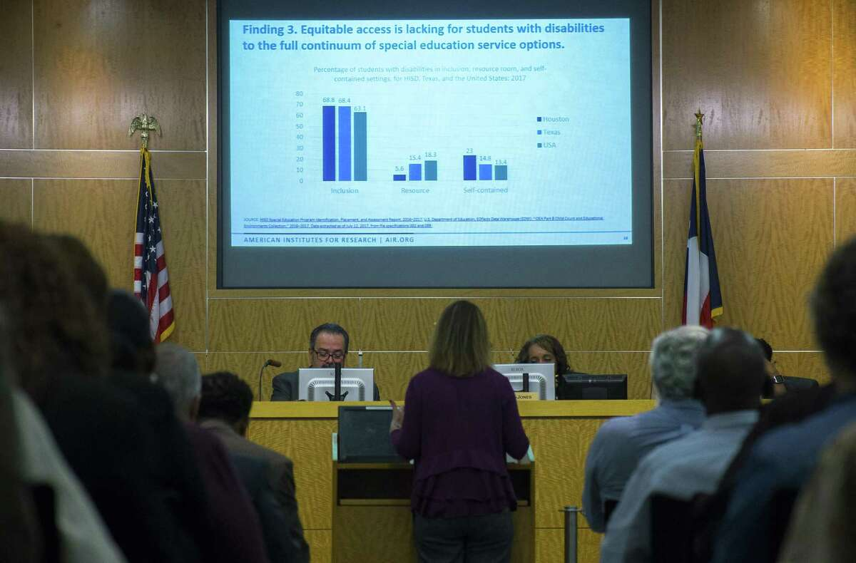 Members of the Houston Independent School District school board and members of the public listen to a presentation on a third-party review of the district's special education system during a school board meeting, Thursday, March 8, 2018, in Houston. ( Mark Mulligan / Houston Chronicle )