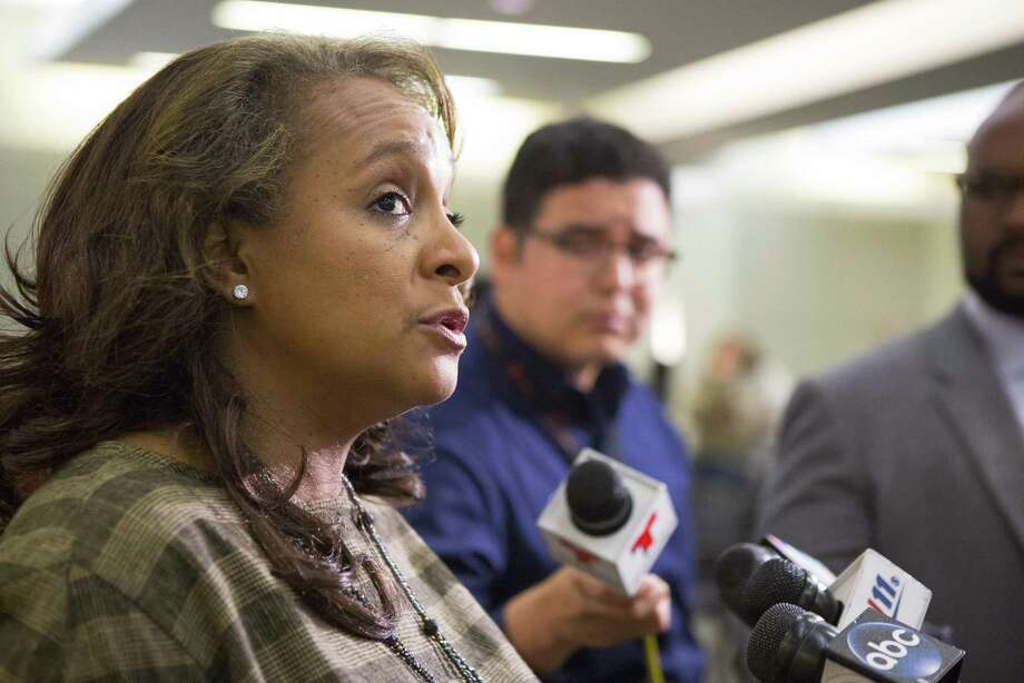 School board president Rhonda Skillern-Jones speaks to the media following a Houston Independent School District school board meeting, Thursday, March 8, 2018, in Houston. ( Mark Mulligan / Houston Chronicle ) Photo: Mark Mulligan, Houston Chronicle / Houston Chronicle / © 2018 Houston Chronicle