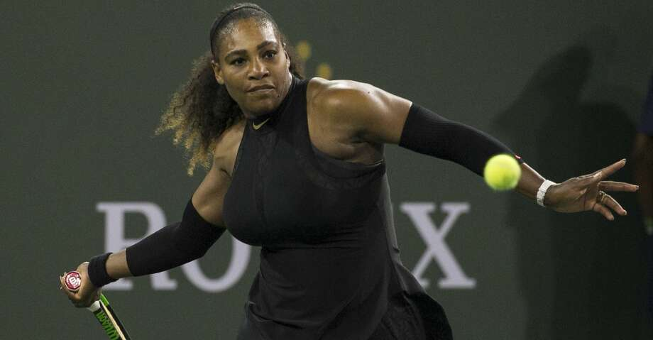 Serena Williams prepares to hit a forehand to Zarina Diyas during the first round of the BNP Paribas Open tennis tournament in Indian Wells, Calif., Thursday, March 8, 2018. (AP Photo/Crystal Chatham) Photo: Crystal Chatham/Associated Press