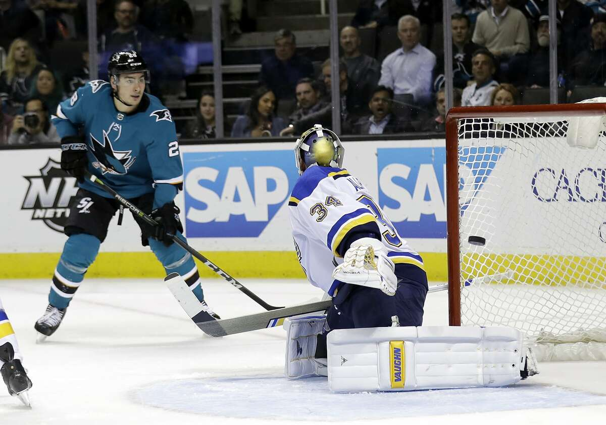 St. Louis Blues goaltender Jake Allen, right, gives up a goal on a shot from San Jose Sharks' Mikkel Boedker, not seen, as Sharks' Timo Meier, left, watches during the third period of an NHL hockey game Thursday, March 8, 2018, in San Jose, Calif. (AP Photo/Marcio Jose Sanchez)