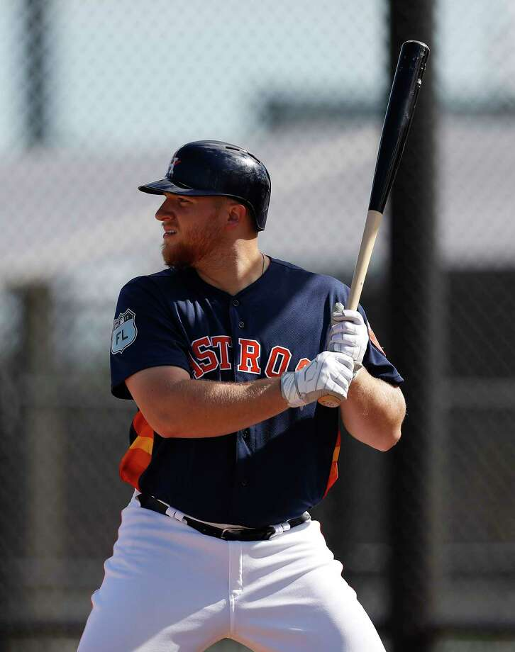 First baseman A.J. Reed is trying to win a job with the Astros after hitting 34 home runs and driving in 104 runs at Class AAA Fresno last season. Photo: Karen Warren, Staff Photographer / 2017 Houston Chronicle