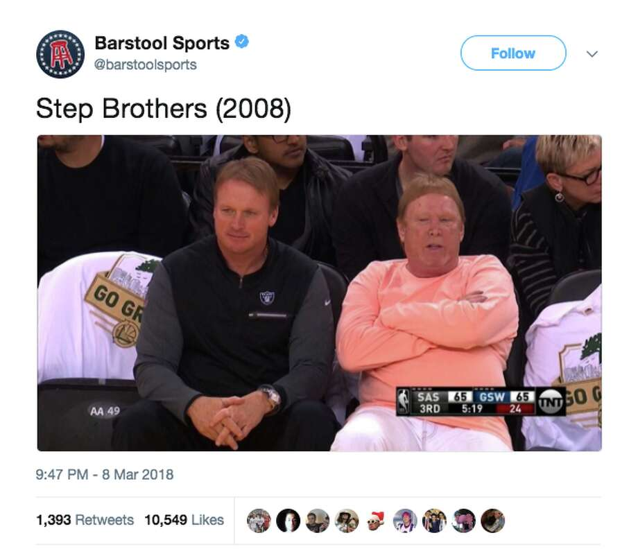 Mark Davis and Jon Gruden's appearance at a Warriors game spawned glorious memes. Photo: Twitter