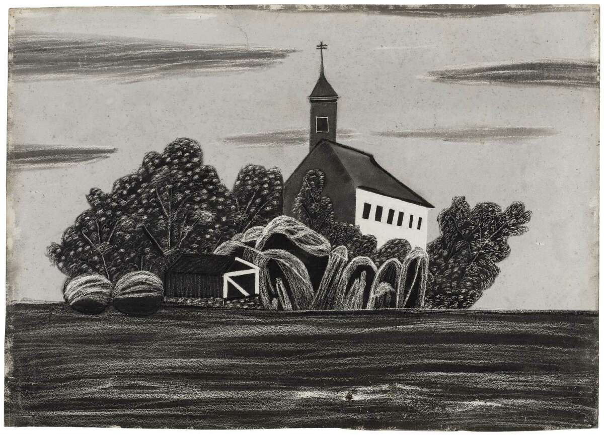 """""""Church and Graveyard,"""" created by an unknown artist in the mid-19th century, was part of Edward Gorey's private collection. It is on view at the Wadsworth Atheneum in Hartford."""
