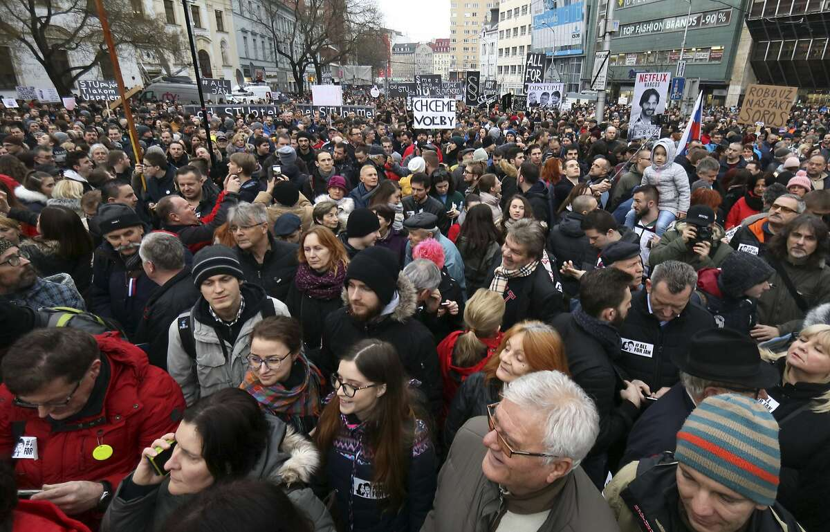 Tens of thousands of Slovaks gather on a square during an antigovernment rally in Bratislava.