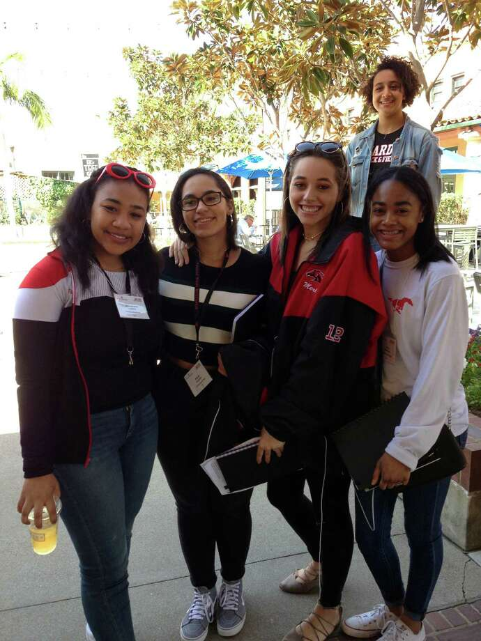 Fairfield Warde students, from left, Alexandra Ludlow, Aliyah Augustin, Lynnaija Brevard, Nile Robinson and Manar Enany in back, in San Diego. Photo: Contributed Photo / Fairfield Citizen