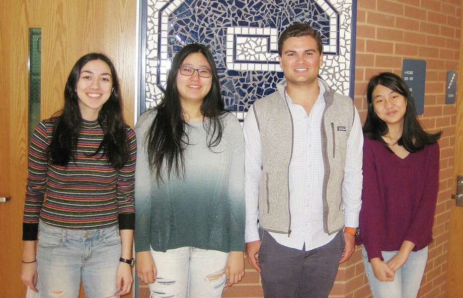 Four Staples High School seniors have been named finalists in the 2018 National Merit Scholarship Program. From left, Nicole Arellano, Jessica Xu, Marshall Heiser, and Leya Luo. Photo: Contributed / Contributed Photo / Westport News