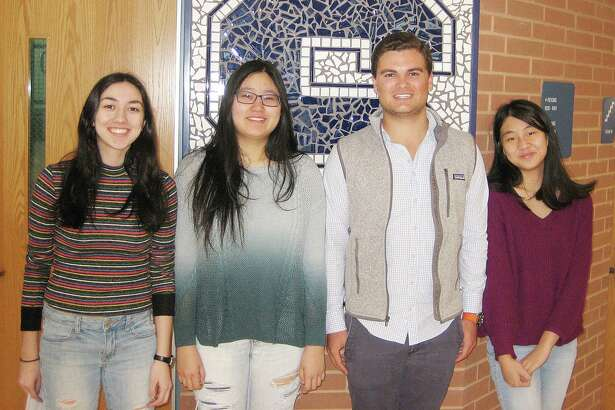 Four Staples High School seniors have been named finalists in the 2018 National Merit Scholarship Program. From left, Nicole Arellano, Jessica Xu, Marshall Heiser, and Leya Luo.