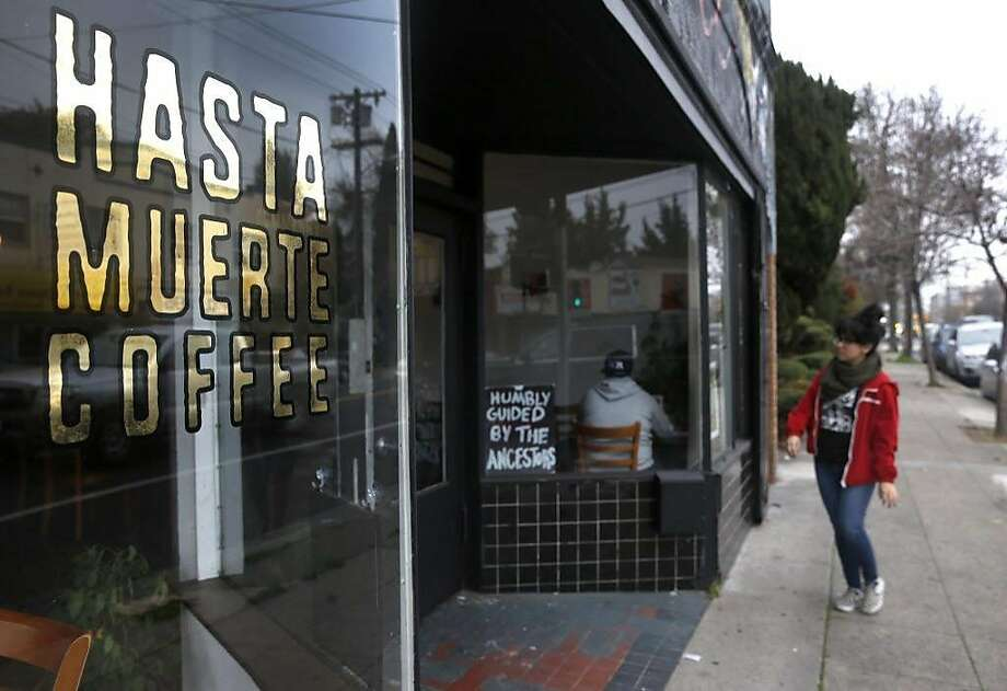 A customer arrives at Hasta Muerte Coffee in Oakland, Calif. on Friday, March 9, 2018. Owners of the cafe on Fruitvale Avenue are refusing service to uniformed police officers. Photo: Paul Chinn / The Chronicle
