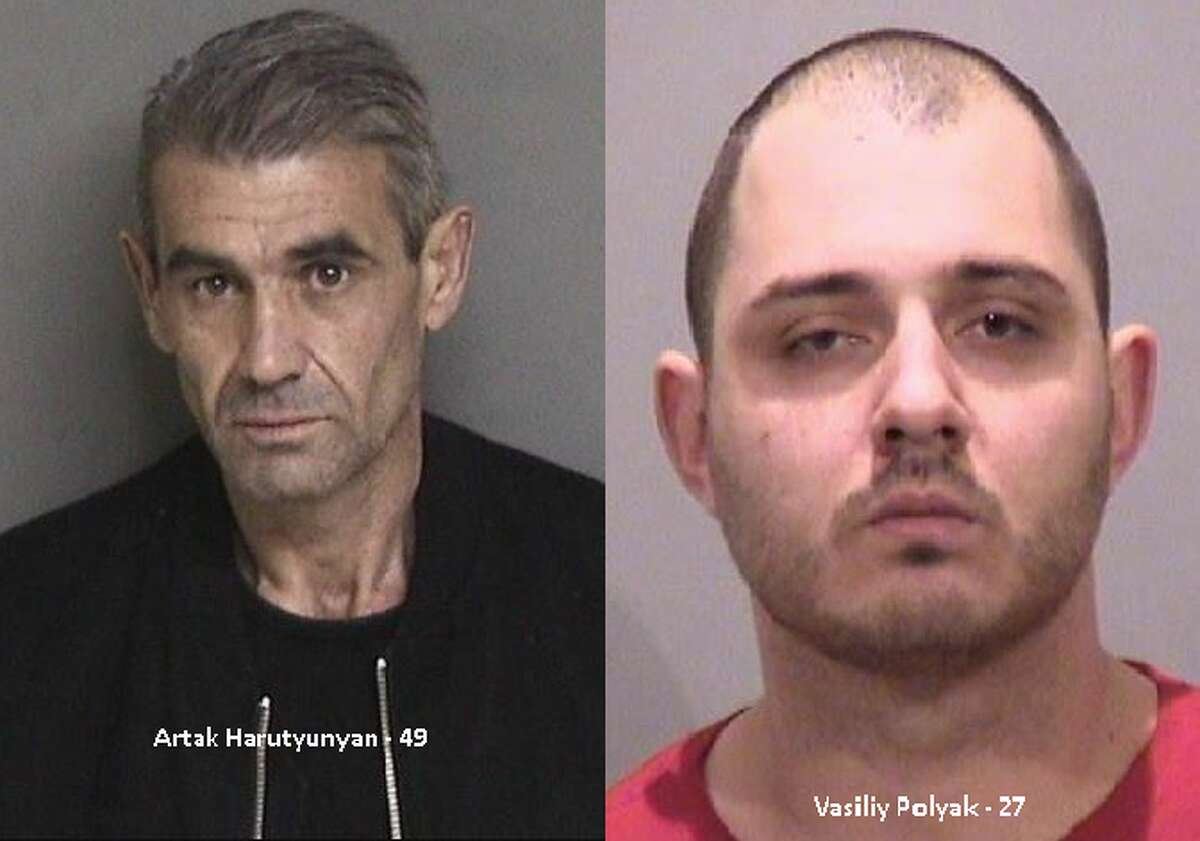 Artk Harutyunyan, 49, of North Hollywood and Vasiliy Polyak, 27, of Montebello. Four men were arrested in Fremont in connection with a criminal skimming ring operating in the Bay Area.