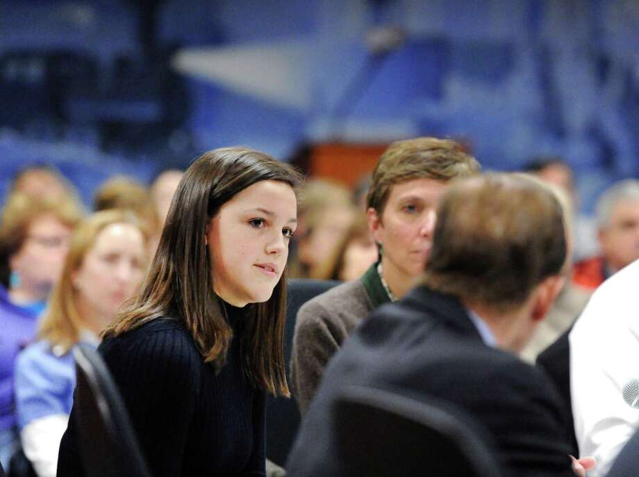"Fairfield Ludlowe High School senior Molly Baker, 18,   at the public forum ""Roundtable Discussion on Gun Violence""   at Greenwich Town Hall on  March 2 . Photo: Bob Luckey Jr. / Hearst Connecticut Media / Greenwich Time"