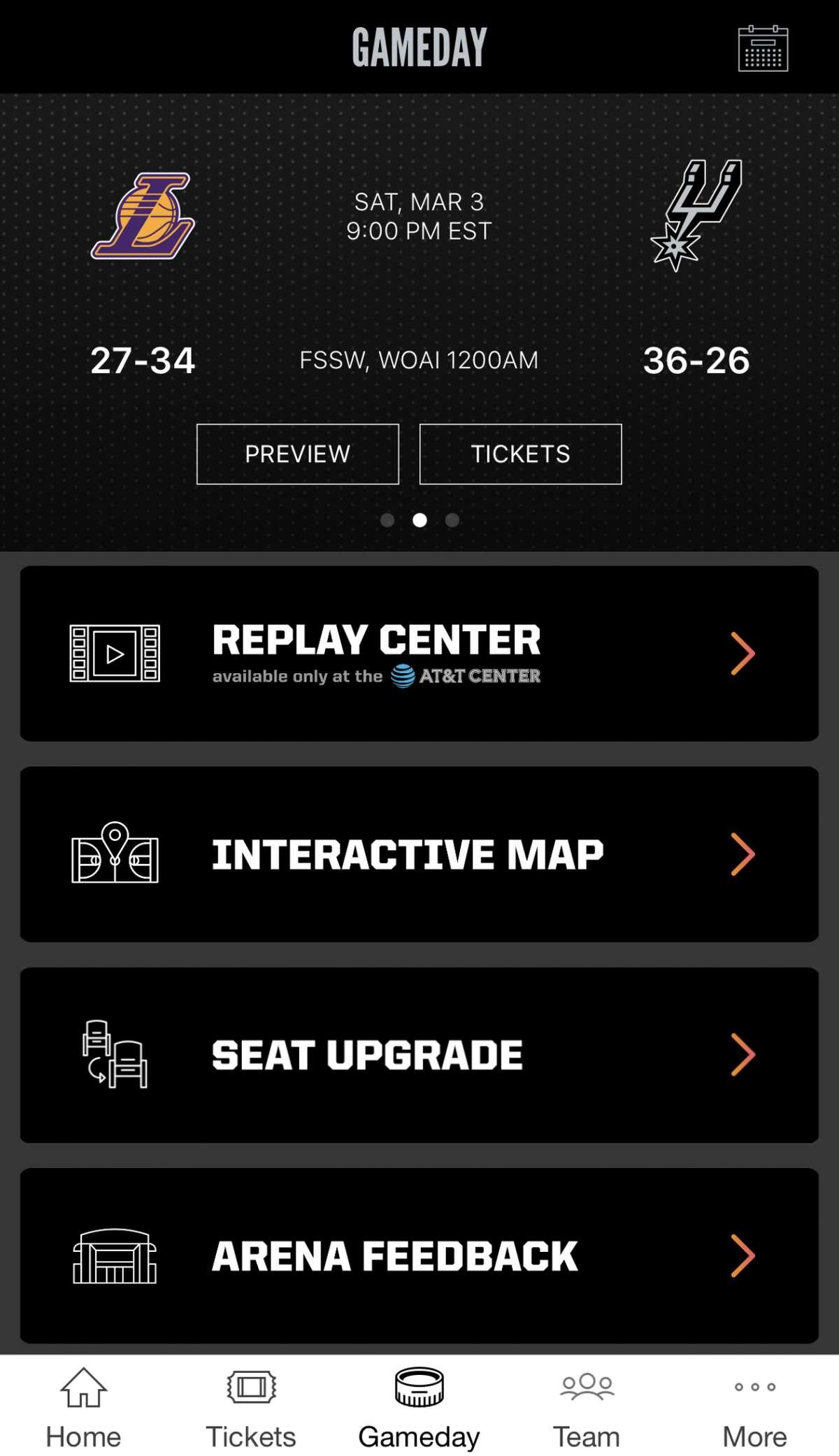 The redesigned menu page on the San Antonio Spurs mobile app.