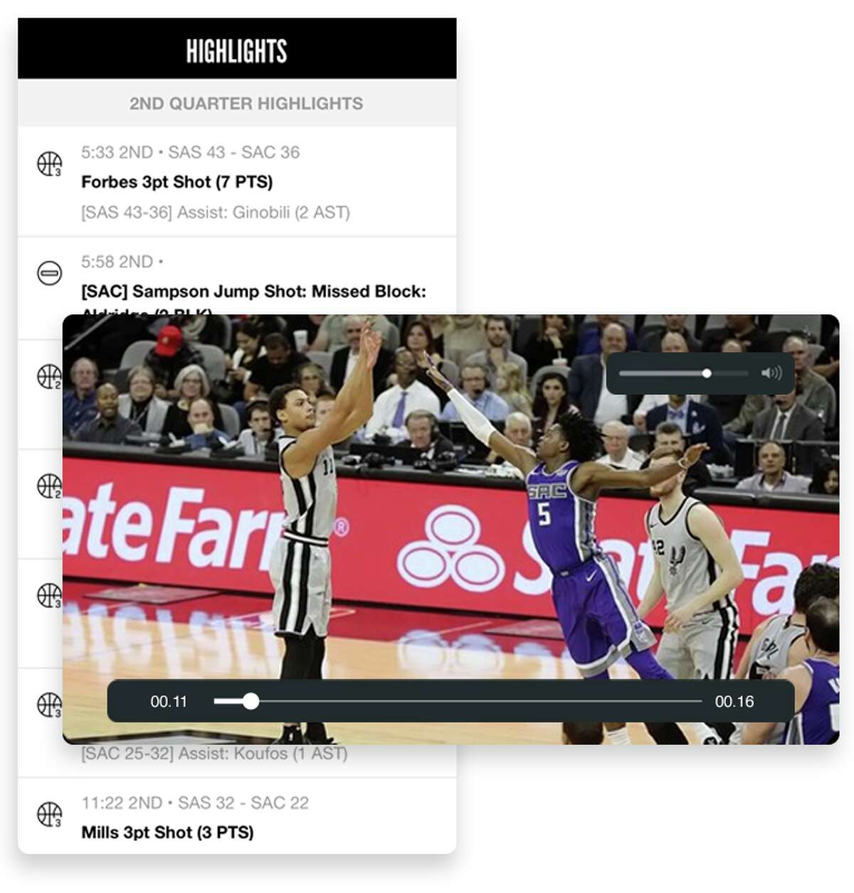 The replay screen on the San Antonio Spurs mobile app.