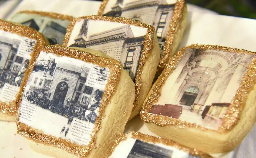 Cookies made with historical photos of the Hotel Foster printed on them are served at a ribbon cutting ceremony for the Foster Complex apartments on the corner of State and Lafayette Streets on Friday, March 9, 2018 in Schenectady, N.Y. (Lori Van Buren/Times Union)