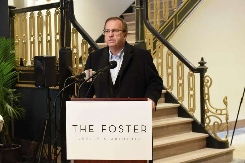 Metroplex Chairman Ray Gillen speaks during a ribbon cutting ceremony for the Foster Complex apartments on the corner of State and Lafayette Streets on Friday, March 9, 2018 in Schenectady, N.Y. (Lori Van Buren/Times Union)