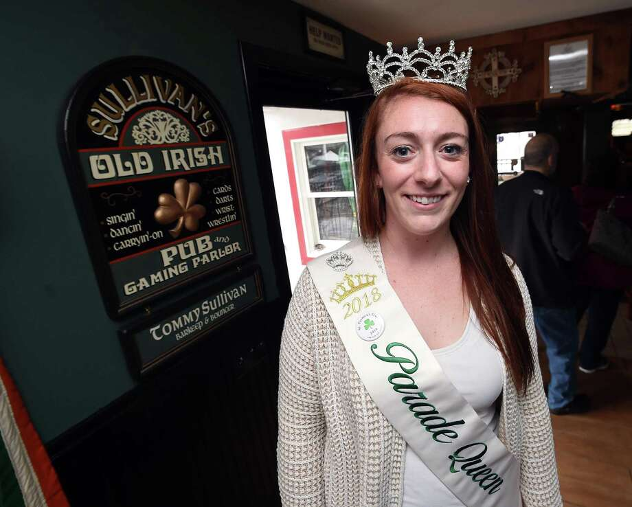 New Haven St. Patrick's Day Parade Queen Bridget Judd is photographed at Tommy Sullivan's Cafe in Branford on March 2, 2018. Photo: Arnold Gold / Hearst Connecticut Media / New Haven Register