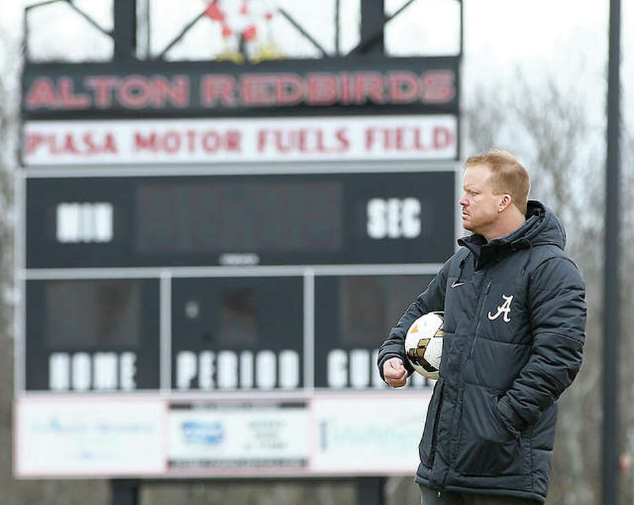 Alton Redbirds' girls soccer coach Jeff Hayes and his team will open the season Monday at Belleville West in a pool game of the Metro Cup's Nike Bracket. Photo: Billy Hurst | For The Telegraph