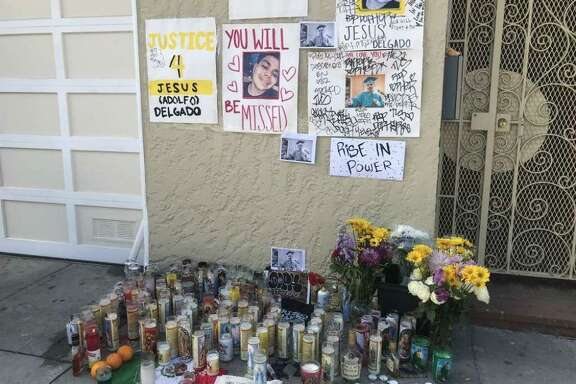 A memorial was set up near where Jesus Delgado-Duarte, 19, was shot and killed by San Francisco police. He was accused of taking part in an armed robbery prior to the shooting.