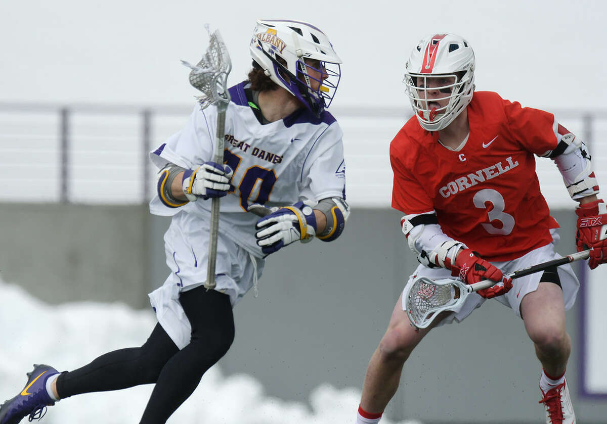 UAlbany's Kyle McClancy, shown last Sunday against Cornell, said the Great Danes are tuning out the noise entering their rematch with Maryland. (Paul Buckowski/Times Union)