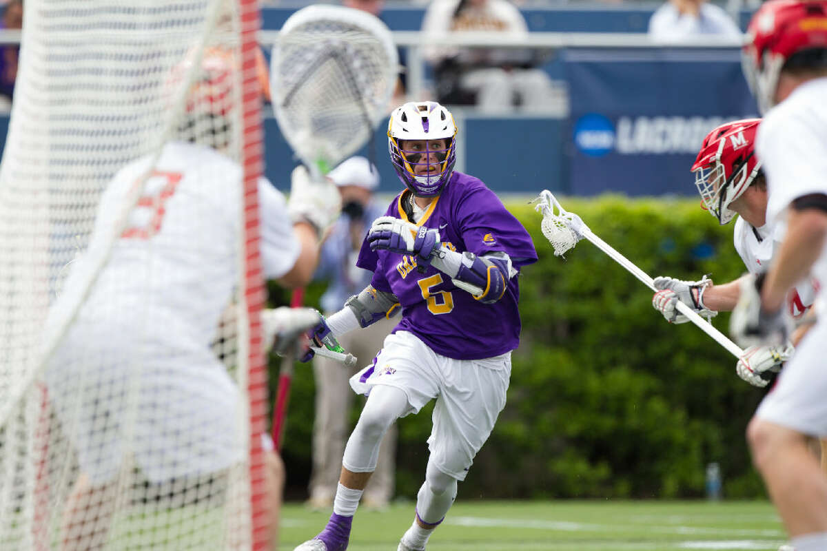 UAlbany's Connor Fields had a hat trick in the NCAA quarterfinals against Maryland last year, but the Terrapins still won 18-9. (Brian Schneider/UAlbany athletics)