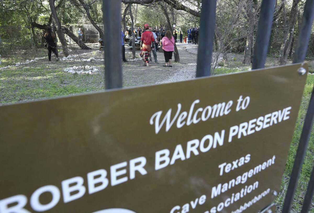 A sign points he way to the Robber Baron Cave near the intersection of Nacogdoches Road and North New Braunfels Avenue.
