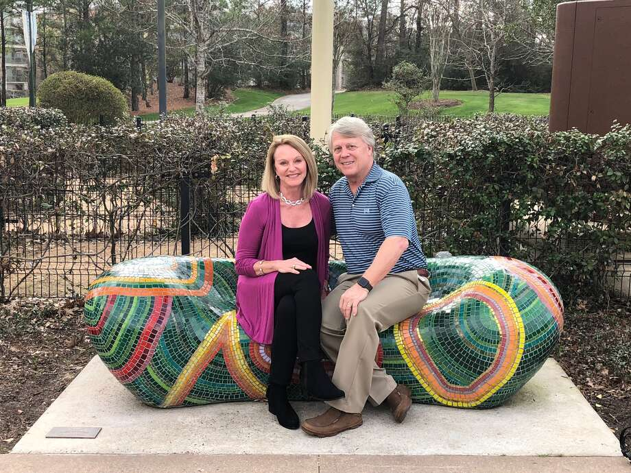 "Patron of the arts Gayle and Todd Kuoni who sponsored the ""Bean"" art bench. Photo: Courtesy Photo"